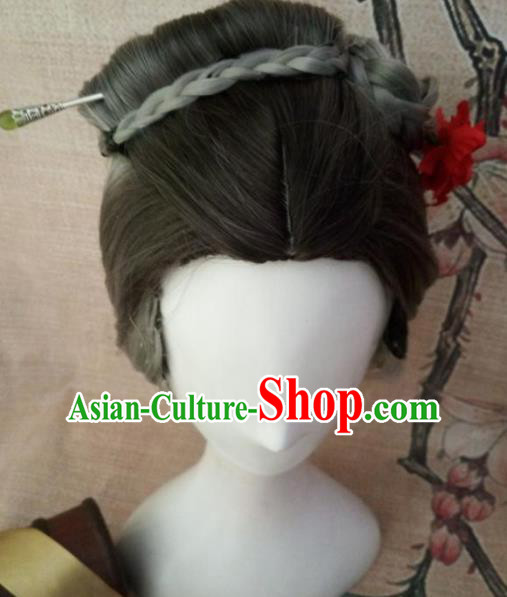 Chinese Traditional Cosplay Old Female Wigs Ancient Dowager Countess Wig Sheath Hair Accessories for Women