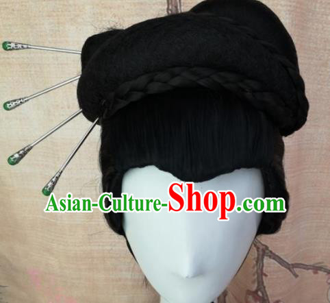 Chinese Traditional Cosplay Nobility Mistress Wigs Ancient Countess Wig Sheath Hair Accessories for Women