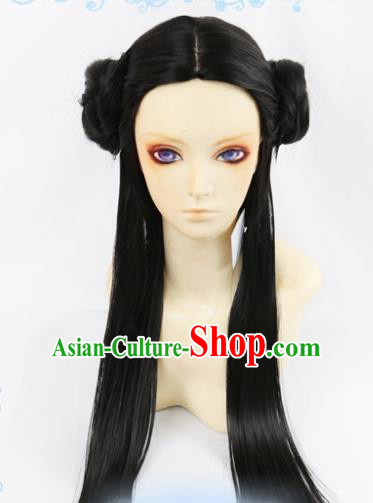 Chinese Traditional Cosplay Princess Hair Wigs Ancient Female Swordsman Wig Sheath Hair Accessories for Women