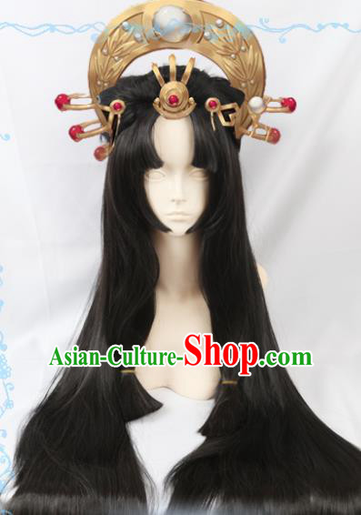 Japanese Traditional Cosplay Onmyoji Black Long Wigs Sheath Ancient Geisha Wig Hair Accessories for Women
