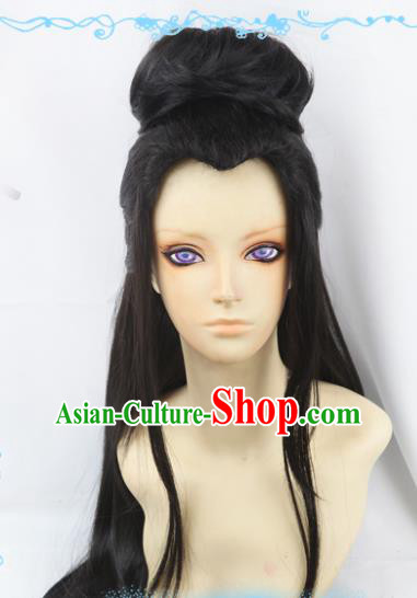Chinese Traditional Cosplay Knight Wigs Ancient Female Swordsman Wig Sheath Hair Accessories for Women