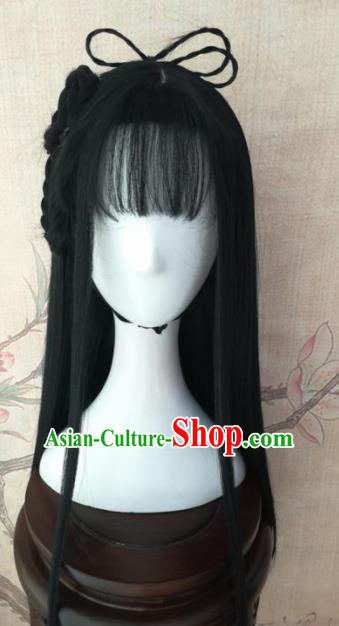 Chinese Traditional Cosplay Servant Girl Xue Yan Wigs Ancient Maidservants Wig Sheath Hair Accessories for Women