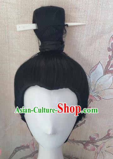 Traditional Chinese Cosplay Hanfu Swordsman Wigs Ancient Taoist Priest Wig Sheath Hair Accessories for Men