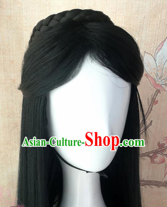 Chinese Traditional Cosplay Goddess Swordsman Wigs Ancient Palace Princess Wig Sheath Hair Accessories for Women