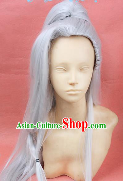 Chinese Traditional Cosplay Taoist White Long Wigs Ancient Swordsman Wig Sheath Hair Accessories for Men