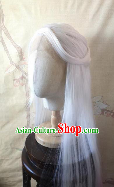 Traditional Chinese Cosplay Game Knight Patriarch White Wigs Ancient Swordsman Wig Sheath Hair Accessories for Men