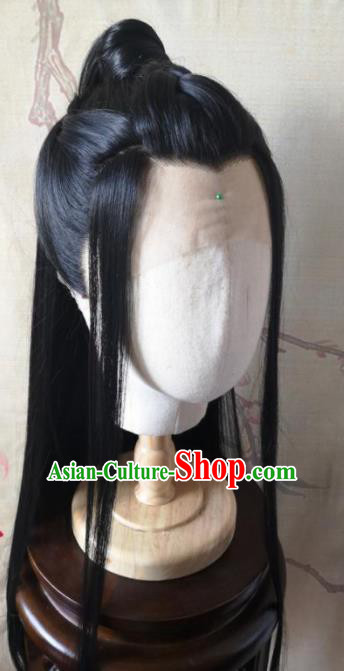 Traditional Chinese Cosplay Swordsman Xue Yang Black Wigs Ancient Nobility Childe Wig Sheath Hair Accessories for Men