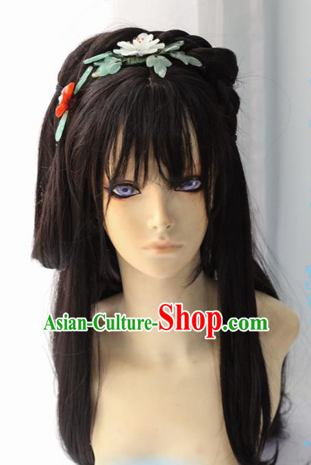 Chinese Traditional Cosplay Female Knight Black Long Wigs Ancient Swordswoman Wig Sheath Hair Accessories for Women