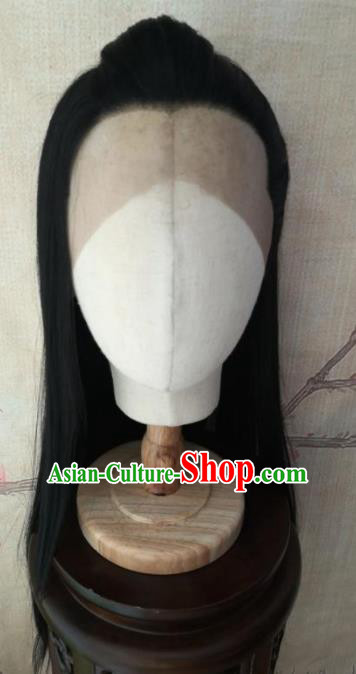 Traditional Chinese Cosplay Prince Swordsman Black Wigs Ancient Nobility Childe Wig Sheath Hair Accessories for Men