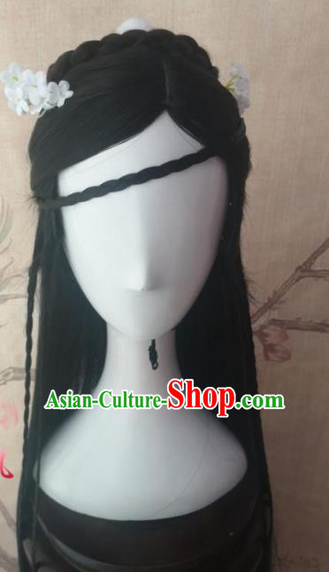 Chinese Traditional Cosplay Dragon Buster Zhao Min Wigs Ancient Princess Wig Sheath Hair Accessories for Women