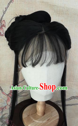 Chinese Traditional Cosplay Goddess Hu Meiniang Wigs Ancient Female Swordsman Wig Sheath Hair Accessories for Women