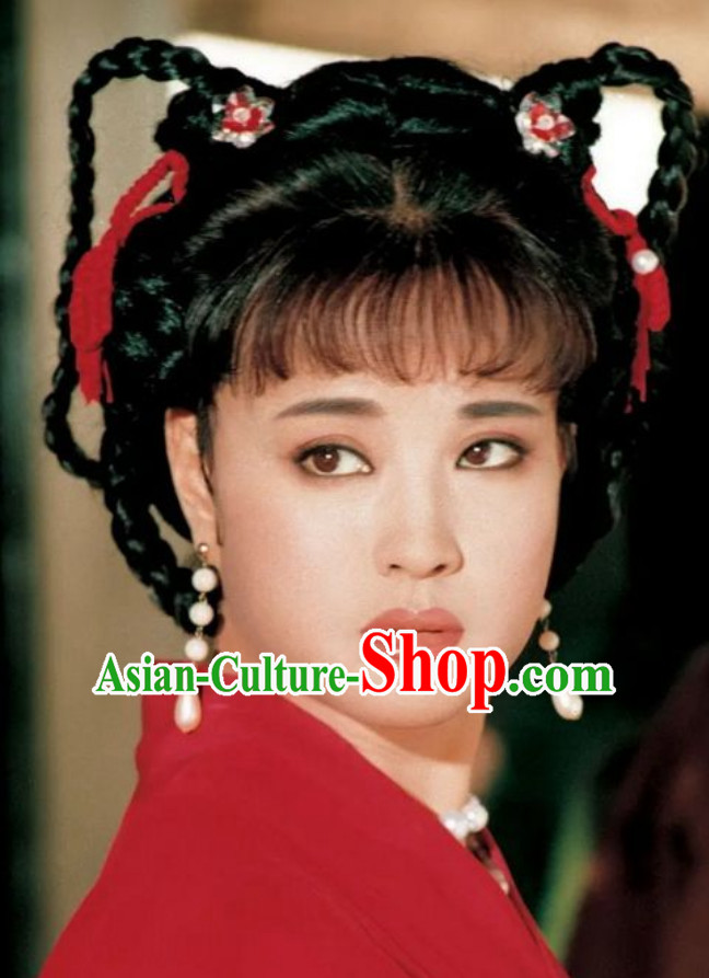 Chinese Classical Ancient Female Tang Dynasty Emperor Wu Zetian Wig and Hair Jewelry Set