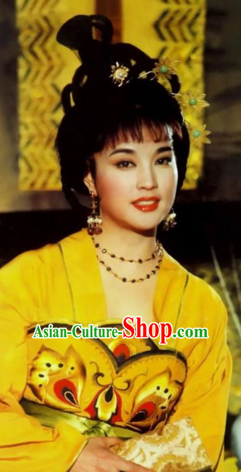 Chinese Classical Ancient Female Emperor Tang Dynasty Emperor Wu Zetian Wig and Hair Jewelry Set