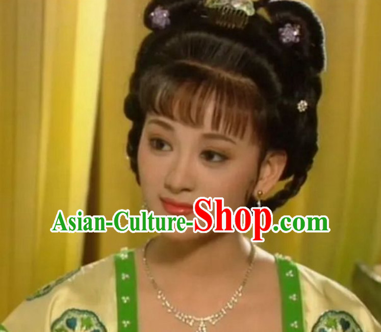 Chinese Classical Ancient Tang Dynasty Female Wig and Hair Jewelries Set