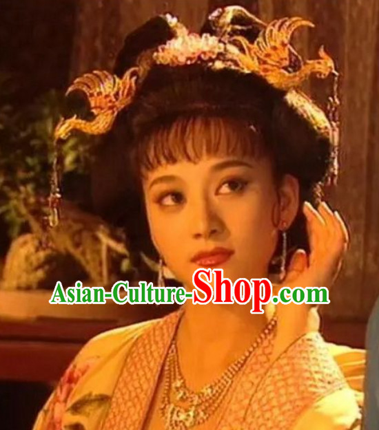 Chinese Classical Ancient Tang Dynasty Female Princess Wigs and Hair Jewelries Set