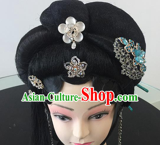 Chinese Beijing Opera Headgear Traditional Peking Opera Diva Wig Sheath and Hair Accessories for Women