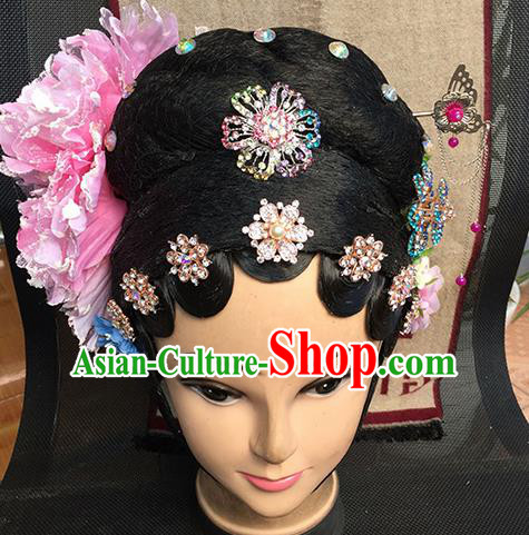 Chinese Beijing Opera Diva Imperial Concubine Headgear Traditional Peking Opera Wig Sheath and Hair Accessories for Women