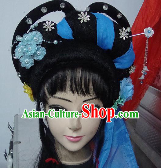 Chinese Beijing Opera Country Lady Headgear Traditional Peking Opera Wig Sheath and Hair Accessories for Women