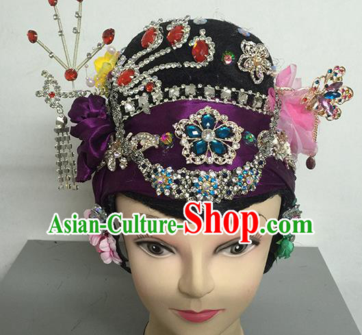 Chinese Beijing Opera Dowager Countess Headgear Traditional Peking Opera Wig Sheath and Hair Accessories for Women