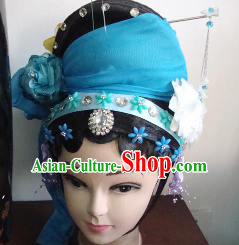 Chinese Beijing Opera Civilian Headgear Traditional Peking Opera Wig Sheath and Hair Accessories for Women