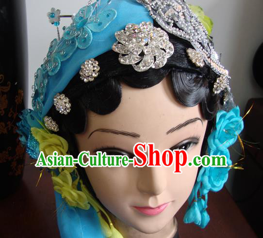 Chinese Beijing Opera Civilian Blue Headgear Traditional Peking Opera Wig Sheath and Hair Accessories for Women