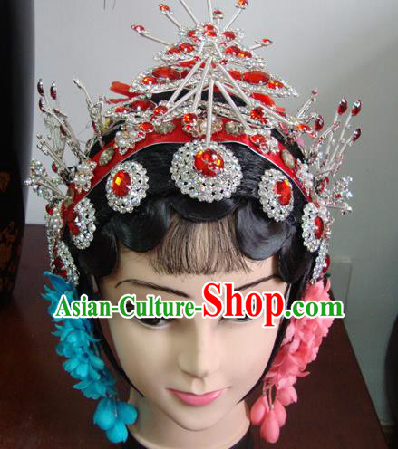 Chinese Beijing Opera Girls Red Headgear Traditional Peking Opera Wig Sheath and Hair Accessories for Women