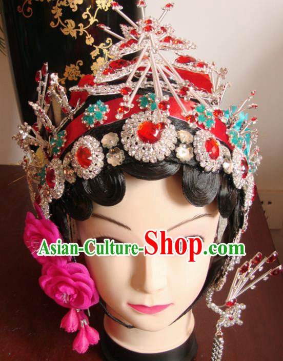 Chinese Beijing Opera Diva Red Crystal Headgear Traditional Peking Opera Wig Sheath and Hair Accessories for Women