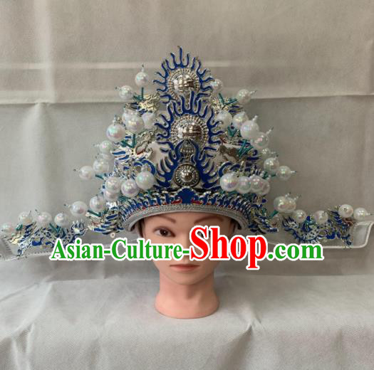 Chinese Beijing Opera Old Male Hat Traditional Peking Opera Prime Minister Helmet for Men