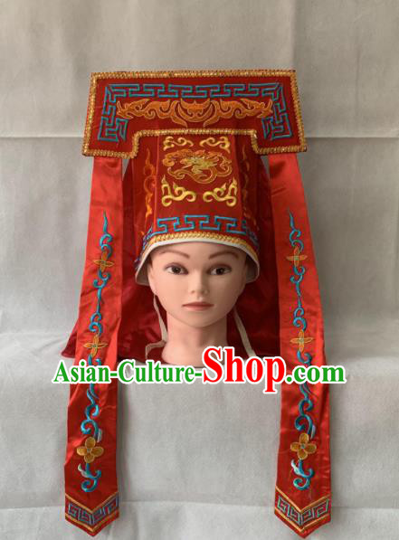 Chinese Beijing Opera Imperial Bodyguard Red Hat Traditional Peking Opera Swordsman Headwear for Men