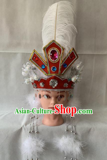 Chinese Beijing Opera Princess Red Hat Traditional Peking Opera Hair Accessories for Women