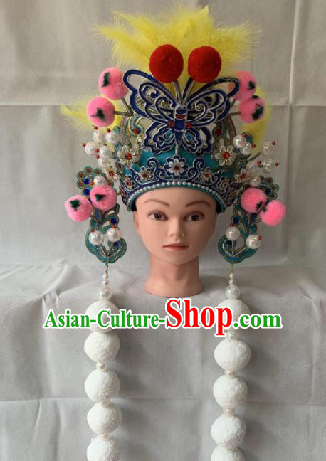 Chinese Beijing Opera Female Swordsman Blue Hat Traditional Peking Opera Hair Accessories for Women