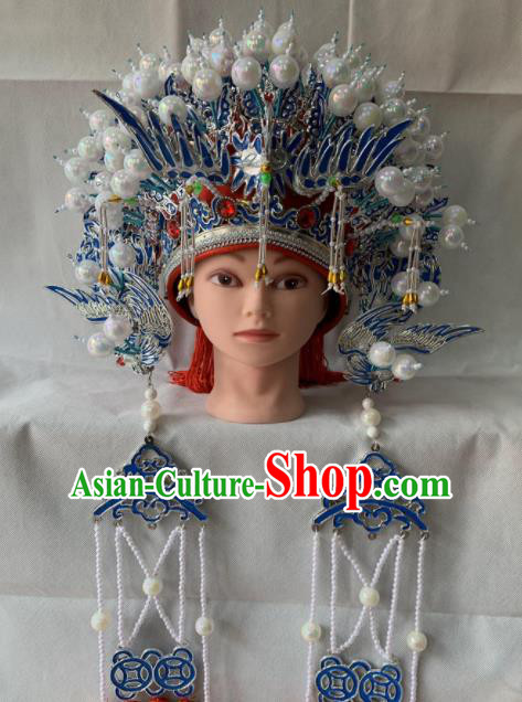 Chinese Beijing Opera Queen Red Phoenix Coronet Traditional Peking Opera Diva Hat Hair Accessories for Women