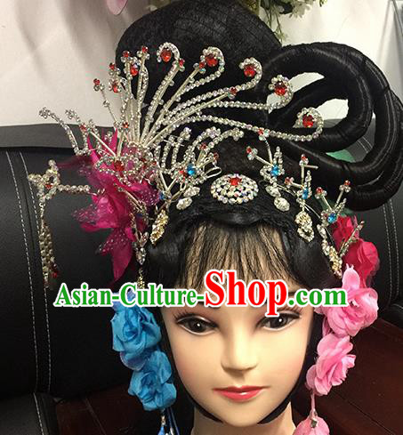 Chinese Beijing Opera Goddess Headgear Traditional Peking Opera Wig Sheath and Hair Accessories for Women