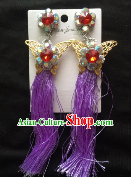 Chinese Beijing Opera Diva Purple Tassel Butterfly Earrings Traditional Peking Opera Princess Ear Accessories for Women