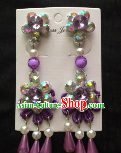 Chinese Beijing Opera Diva Purple Flower Earrings Traditional Peking Opera Princess Ear Accessories for Women