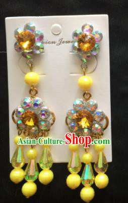 Chinese Beijing Opera Diva Yellow Beads Tassel Earrings Traditional Peking Opera Princess Ear Accessories for Women