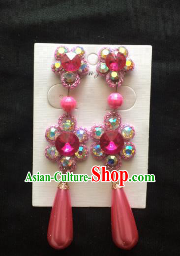 Chinese Beijing Opera Diva Rosy Crystal Earrings Traditional Peking Opera Princess Ear Accessories for Women