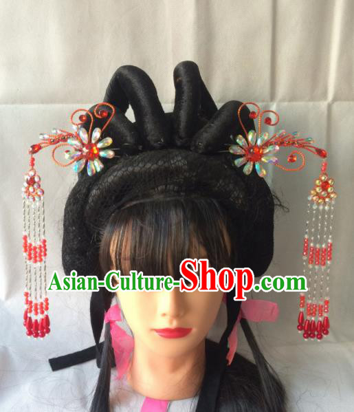 Chinese Beijing Opera Diva Red Phoenix Hairpins Traditional Peking Opera Princess Hair Accessories for Women