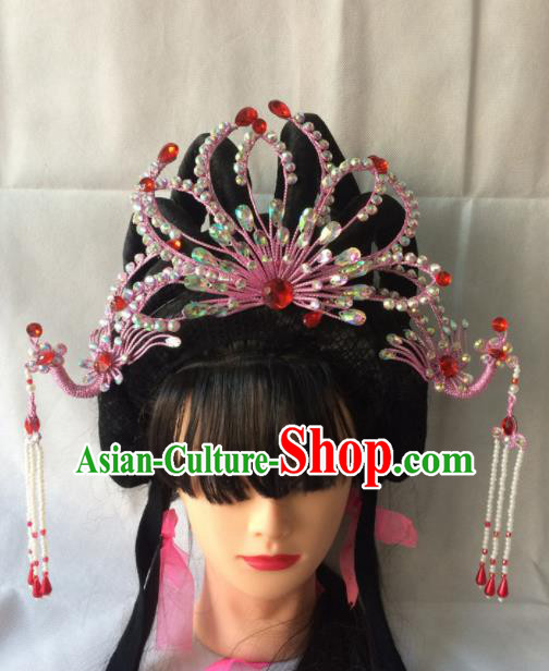 Chinese Beijing Opera Diva Pink Phoenix Coronet Hairpins Traditional Peking Opera Queen Hair Accessories for Women