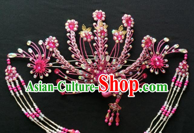 Chinese Beijing Opera Diva Rosy Phoenix Hair Crown Traditional Peking Opera Queen Hairpins Hair Accessories for Women