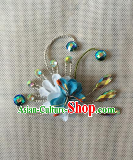 Chinese Beijing Opera Diva Blue Flower Hair Claw Hairpins Traditional Peking Opera Hair Accessories for Women