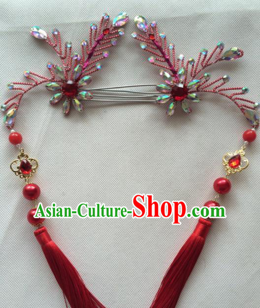 Chinese Beijing Opera Princess Red Tassel Hairpins Traditional Peking Opera Diva Hair Accessories for Women