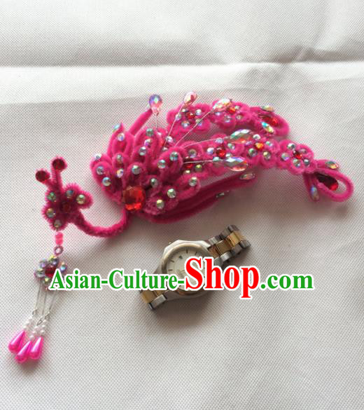 Chinese Beijing Opera Princess Rosy Velvet Phoenix Hairpins Traditional Peking Opera Diva Hair Accessories for Women