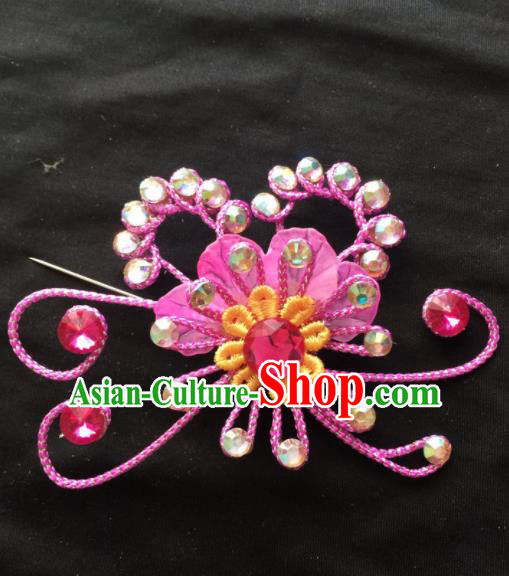 Chinese Beijing Opera Diva Rosy Hairpins Headgear Traditional Peking Opera Princess Hair Accessories for Women