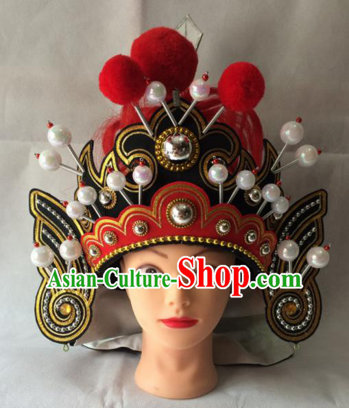Chinese Beijing Opera General Helmet Hat Traditional Peking Opera Takefu Headwear for Men
