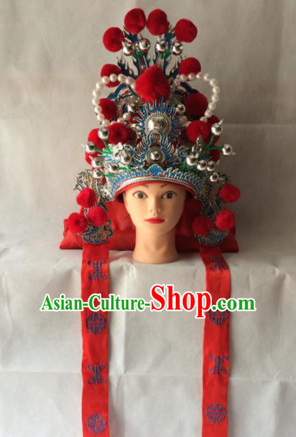 Chinese Beijing Opera Takefu Red Hat Traditional Peking Opera Imperial Bodyguard Headwear for Men