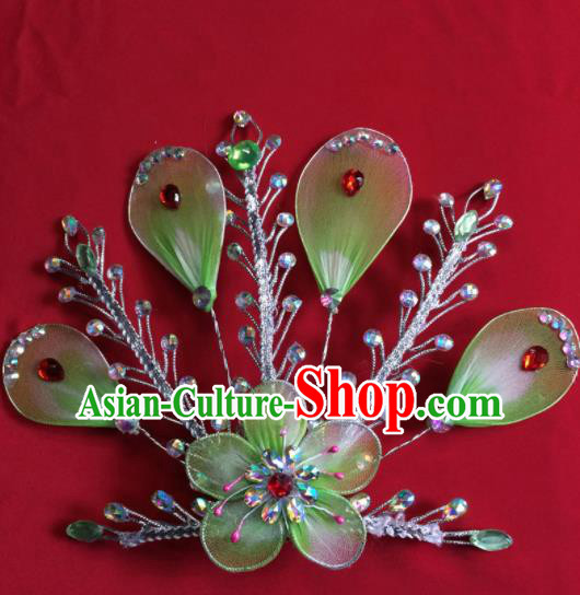 Chinese Beijing Opera Actress Green Hairpins Traditional Peking Opera Princess Hair Accessories for Women