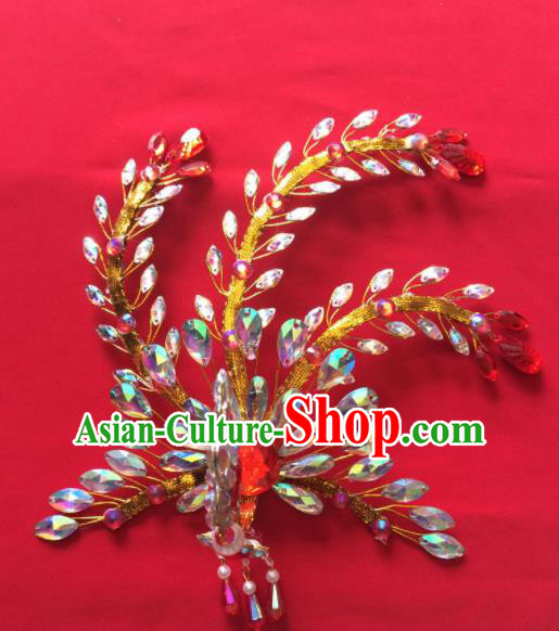 Chinese Ancient Princess Golden Phoenix Hairpin Traditional Peking Opera Actress Hair Accessories for Women