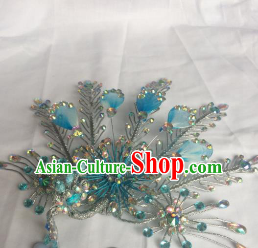 Chinese Beijing Opera Diva Blue Phoenix Hair Clip Hairpins Traditional Peking Opera Hair Accessories for Women