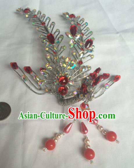 Chinese Beijing Opera Diva Red Tassel Phoenix Hair Clip Hairpins Traditional Peking Opera Hair Accessories for Women